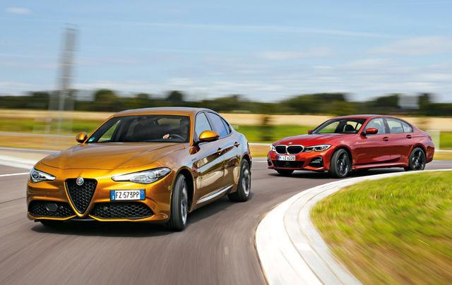 Millised värvid! Kuldselt läikiv Alfa, täidlaselt oranž BMW. Testirajal esinevad mõlemad silmapaistvalt. Foto: Auto Bild