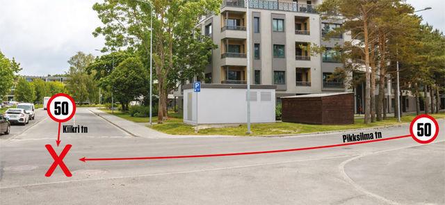 Kuidas saab Pikksilma tänaval sõitja Kiikri tänavast lähenevat ohtu märgata, kui tema vaate varjamiseks on ehitatud alajaam ja prügikastikuur, aga samas pole peetud vajalikuks kiirust piirata? Foto: Pille Russi
